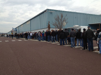 People in line for admission to the Montgomery County gun show