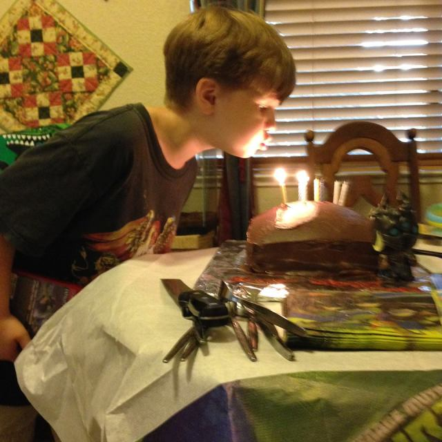 There were 8 candles on his cake